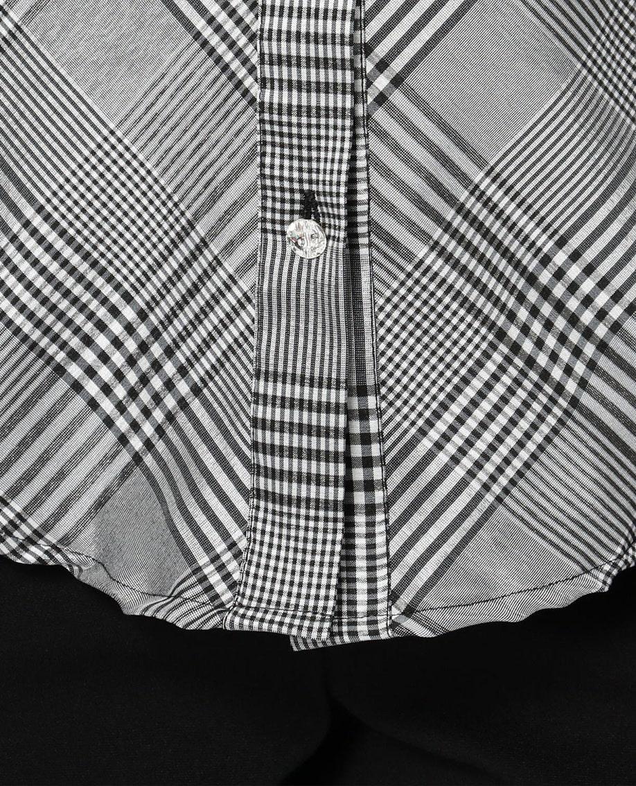 クリスタルボタン付きグレンチェック長袖シャツ