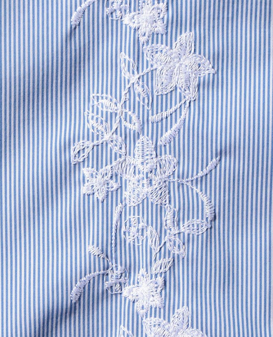 【MEN'S】ピンストライプフラワー刺繍長袖シャツ