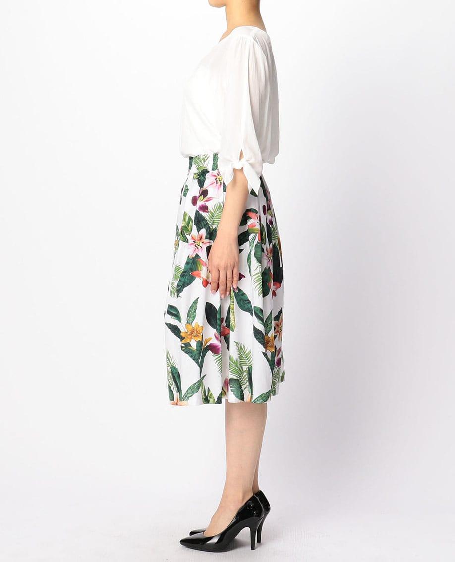 トロピカルプリントタックギャザースカート
