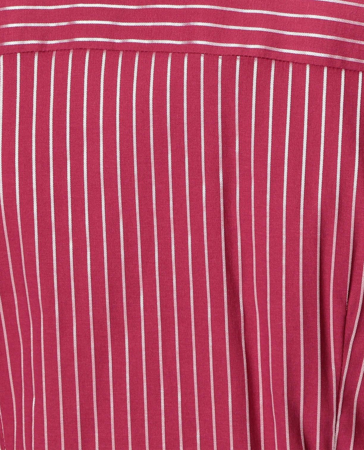 イタリアンダークストライプ衿付フリル半袖シャツ