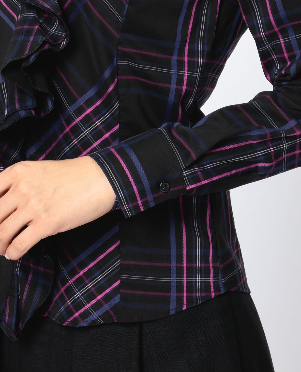 イタリアンチェック襟付きフリルシャツ