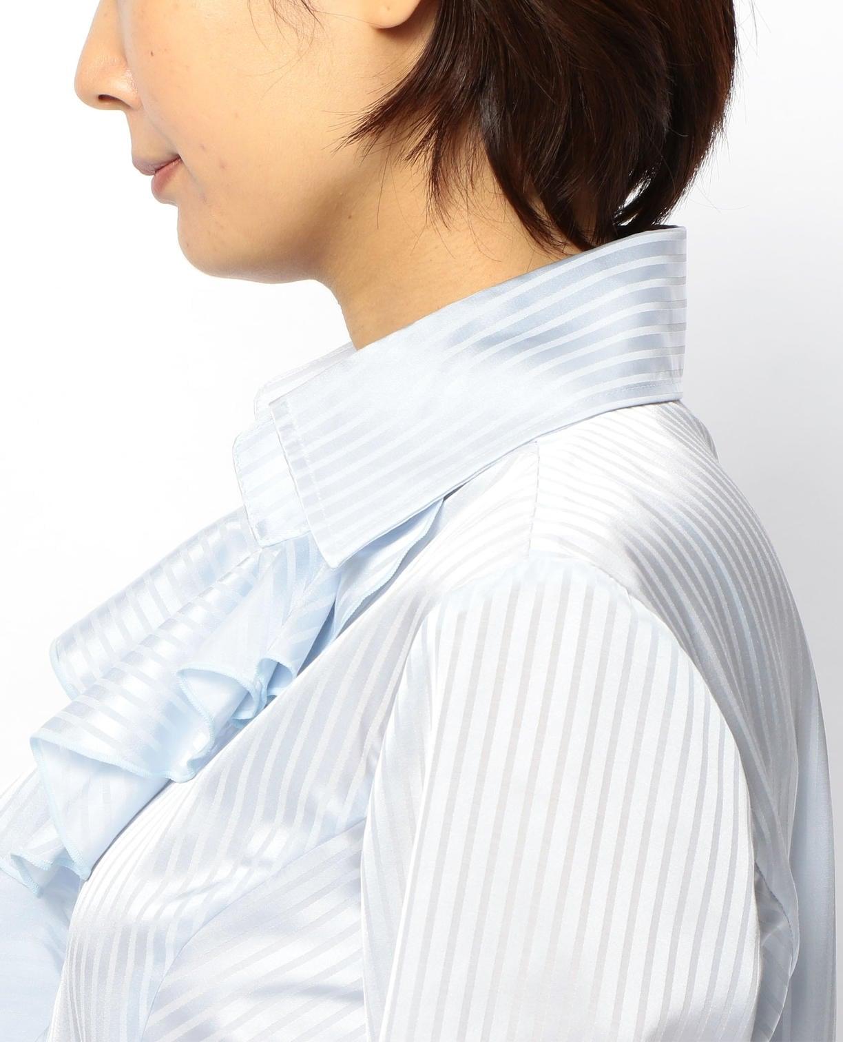 サテンストライプ衿付フリルシャツ