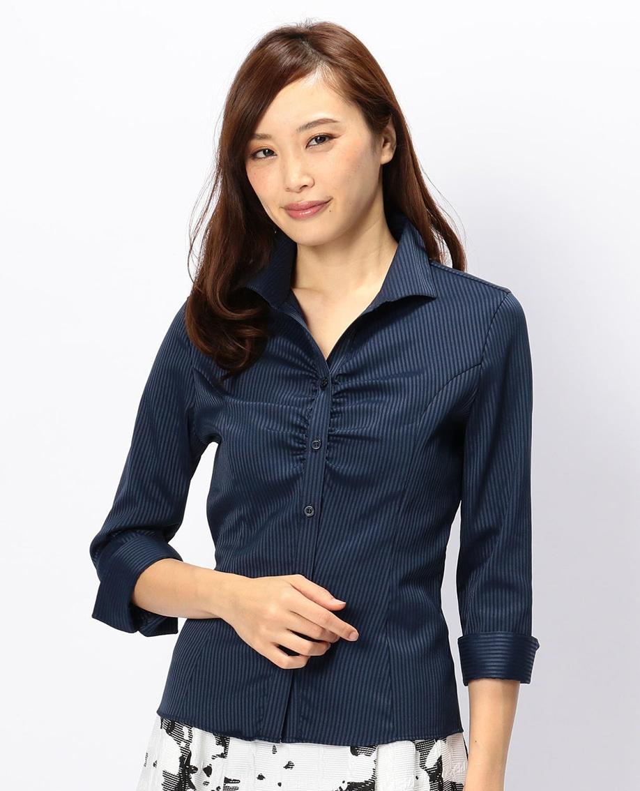 サテンストライプスタンドカラー七分袖シャツ