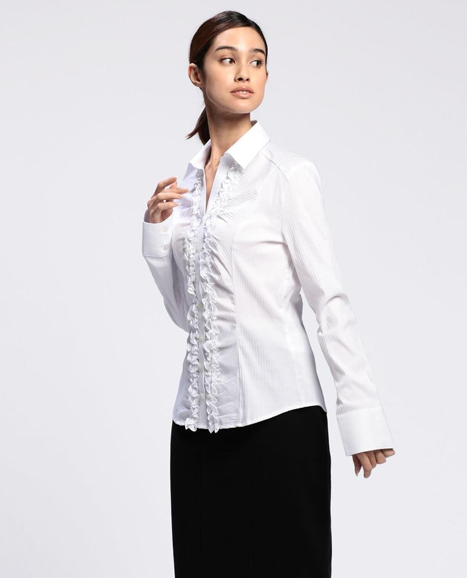 スーパーストレッチ衿ツキフリル長袖シャツ