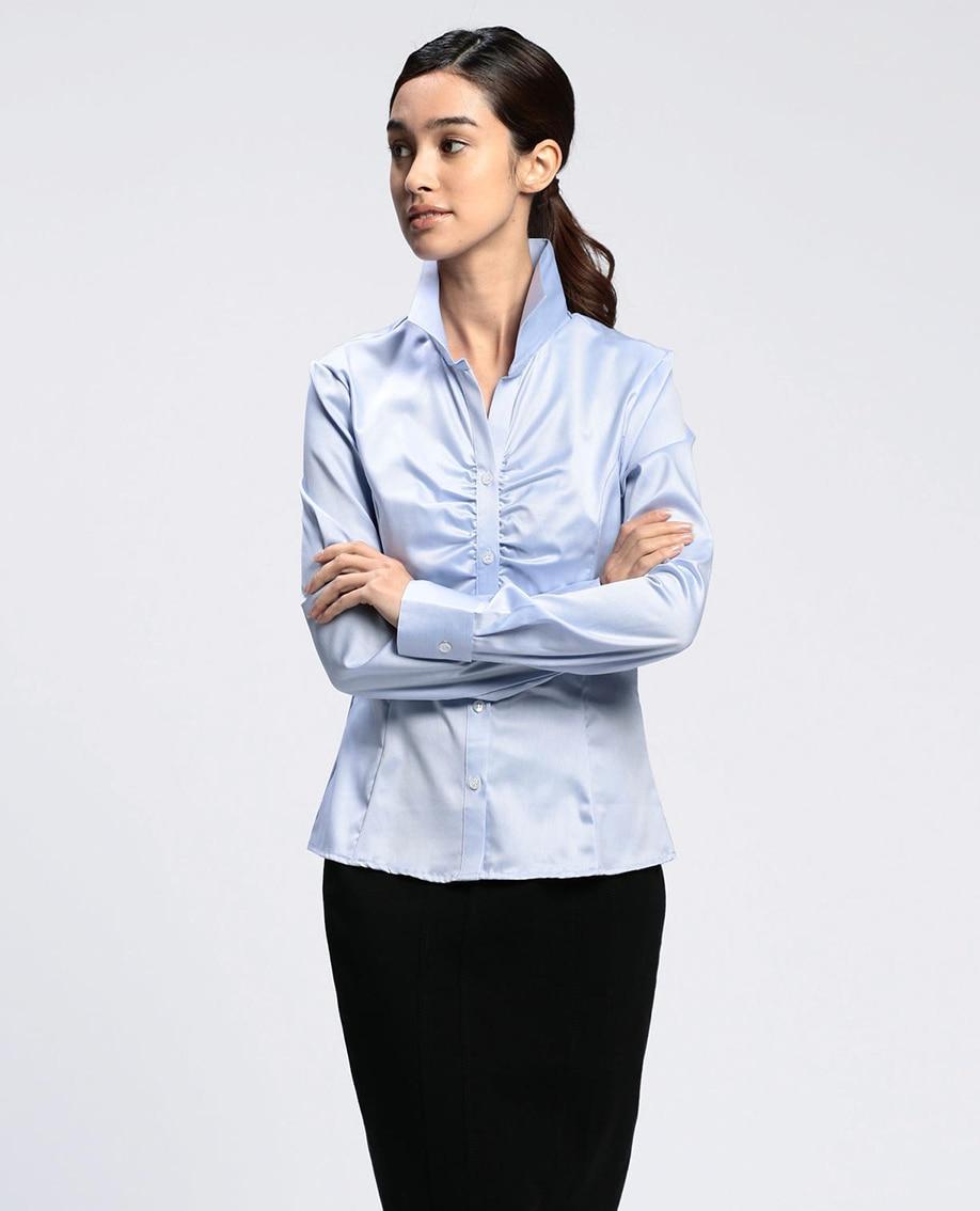 コットンツイル胸ギャザースタンドカラー長袖シャツ