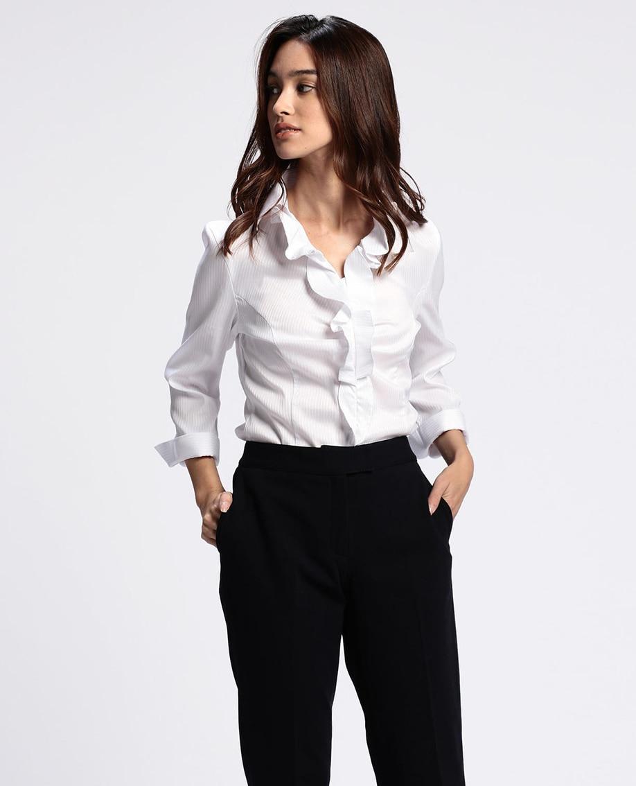 ペンシルサテンストライプ衿付フリル七分袖シャツ