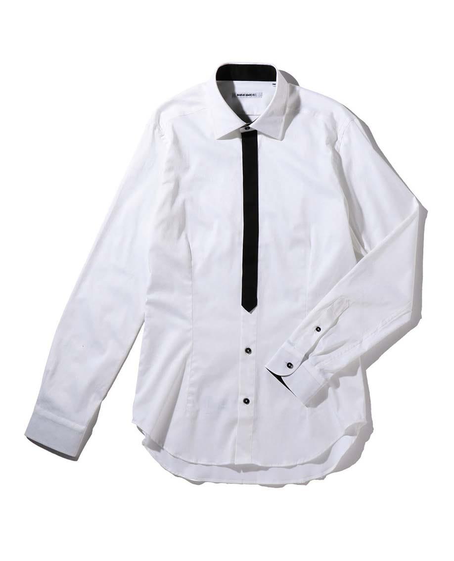 【MEN'S】ペイズリープリントフライフロント調長袖シャツ