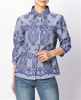 アスベルク柄刺繍七分袖シャツ