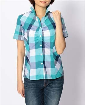 ブロックチェックフロントギャザー半袖シャツ