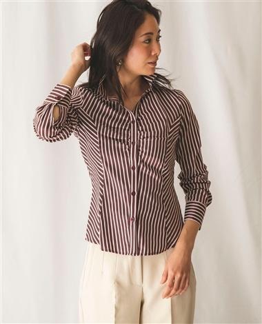 ミラノストライプスタンドカラーシャツ