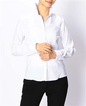 ストライプ切り替えスタンドカラーシャツ