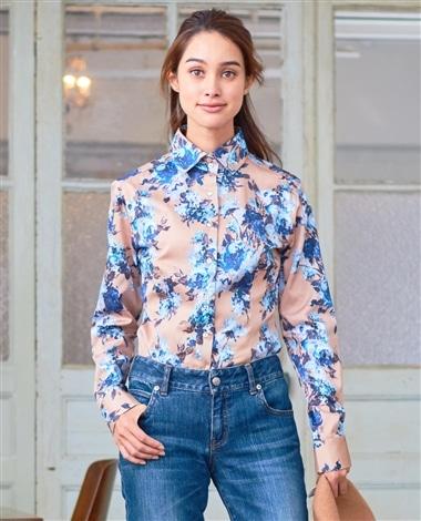 フラワープリント長袖シャツ