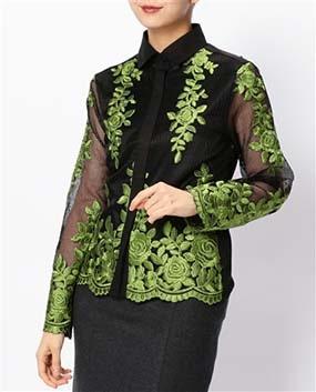 フラワー刺繍フライフロント長袖シャツ