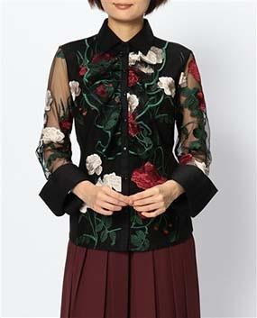 ハイブリッド衿付フリル刺繍長袖シャツ