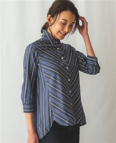 マルチストライプ七分袖シャツ
