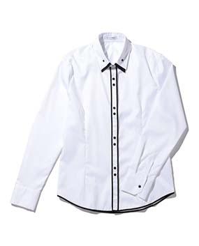 【MEN'S】コットンツイル前立てパイピング長袖シャツ