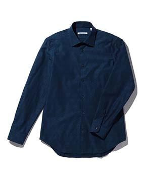 【MEN'S】フラワーモチーフ柄織長袖シャツ