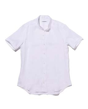 【MEN'S】バンドカラー麻半袖シャツ