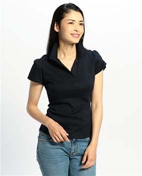 コットンスムーススタンドカラー半袖カットソーシャツ