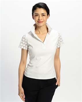レースコンビスタンドカラー半袖カットソーシャツ