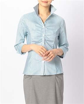 ダブルストライプスタンドカラー七分袖シャツ