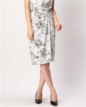 手書きフラワープリントねじりスカート