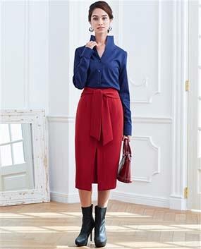 リボンロングタイトスカート