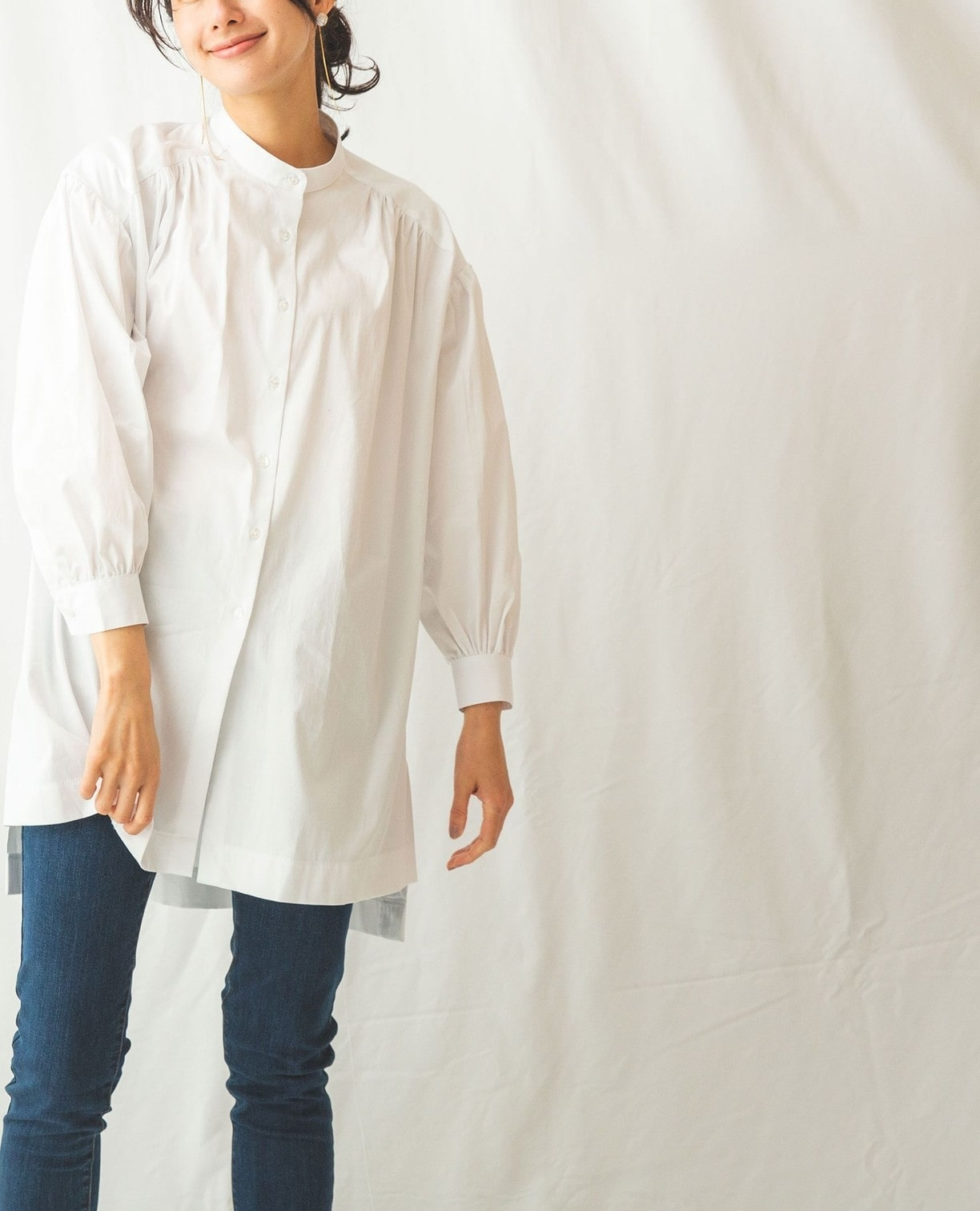 コットンストレッチバンドカラーチュニックシャツ