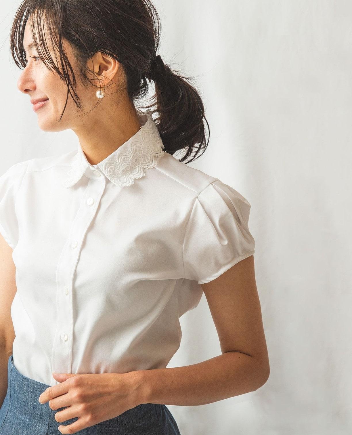 コットンツイルレース衿半袖シャツ
