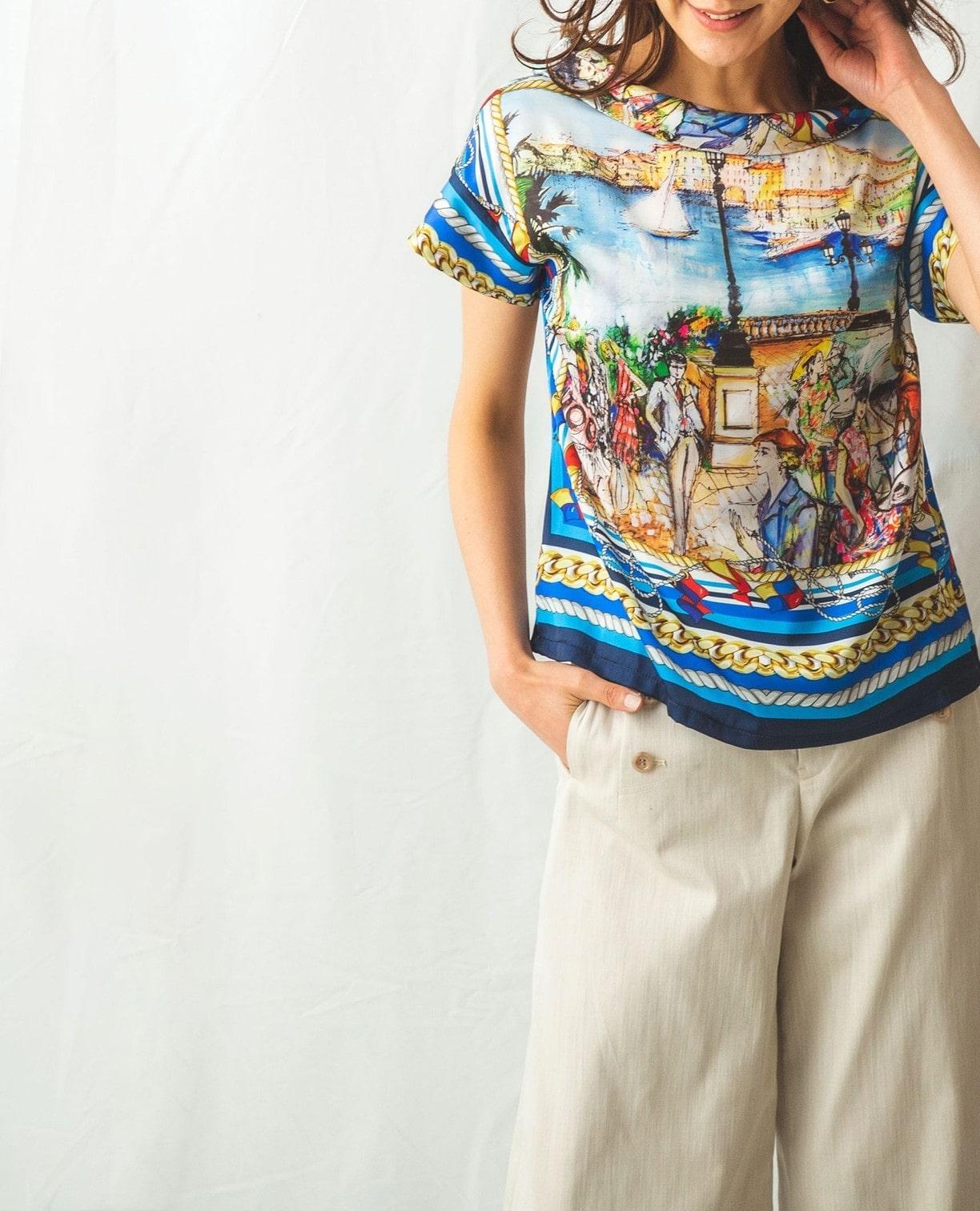 絵画プリント半袖プルオーバーブラウス