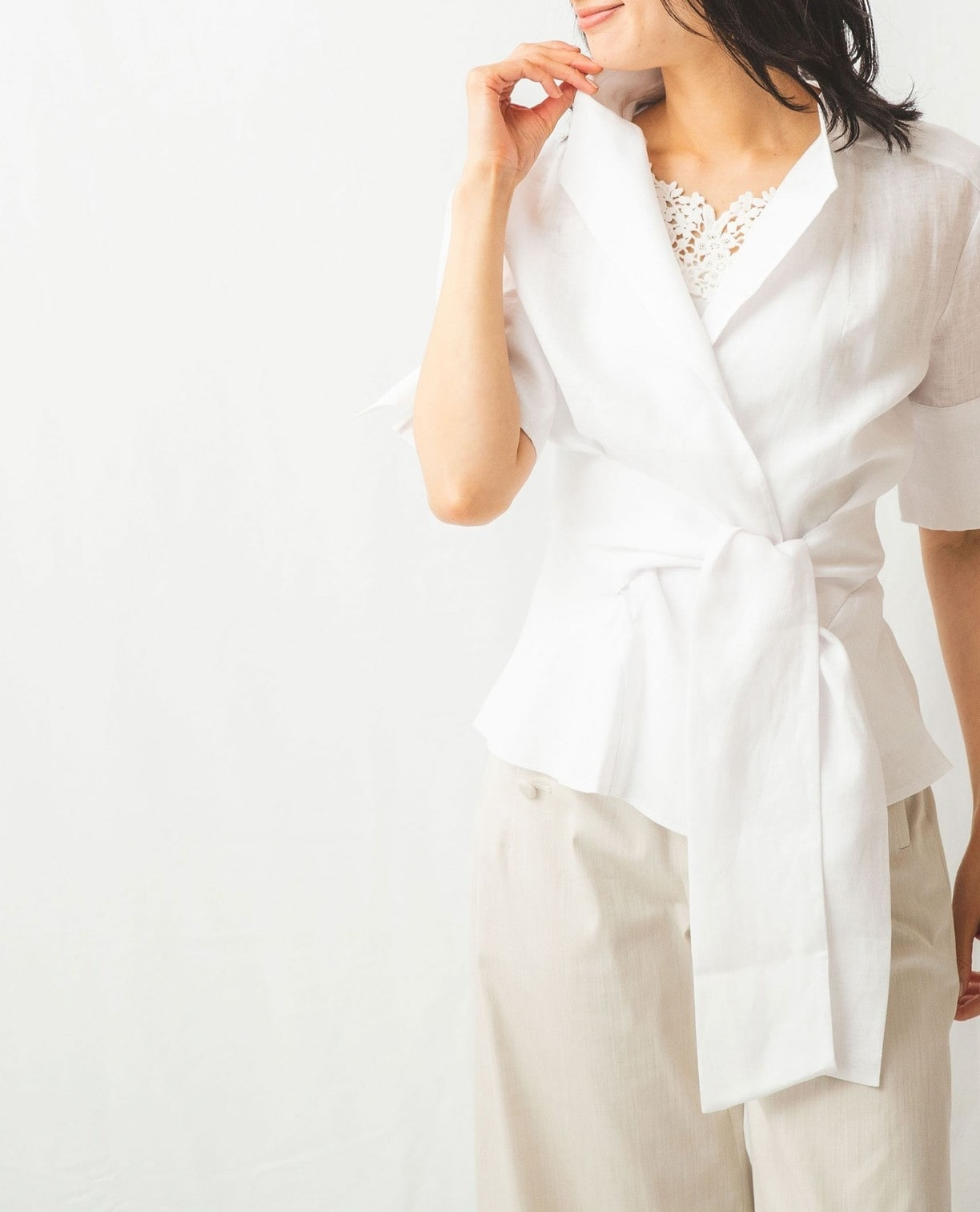 麻カシュクール半袖シャツ