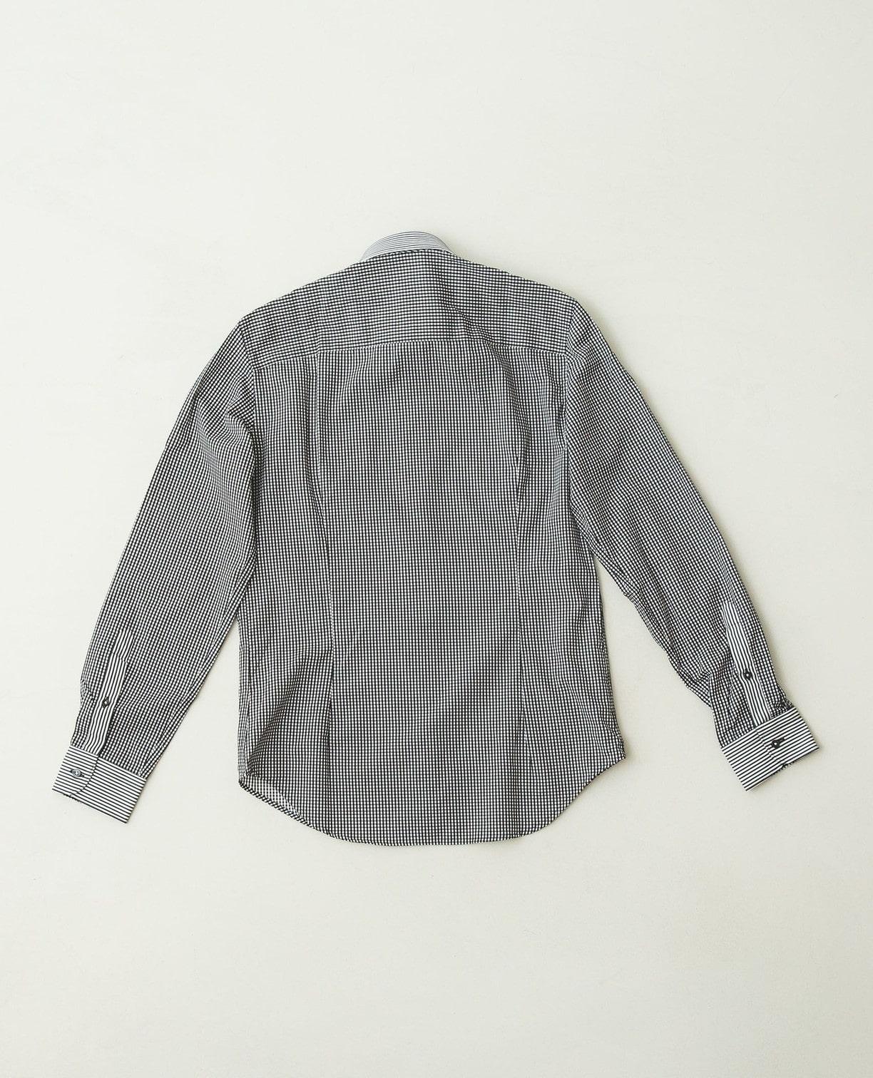 変わりストライプオープンカラー長袖シャツ