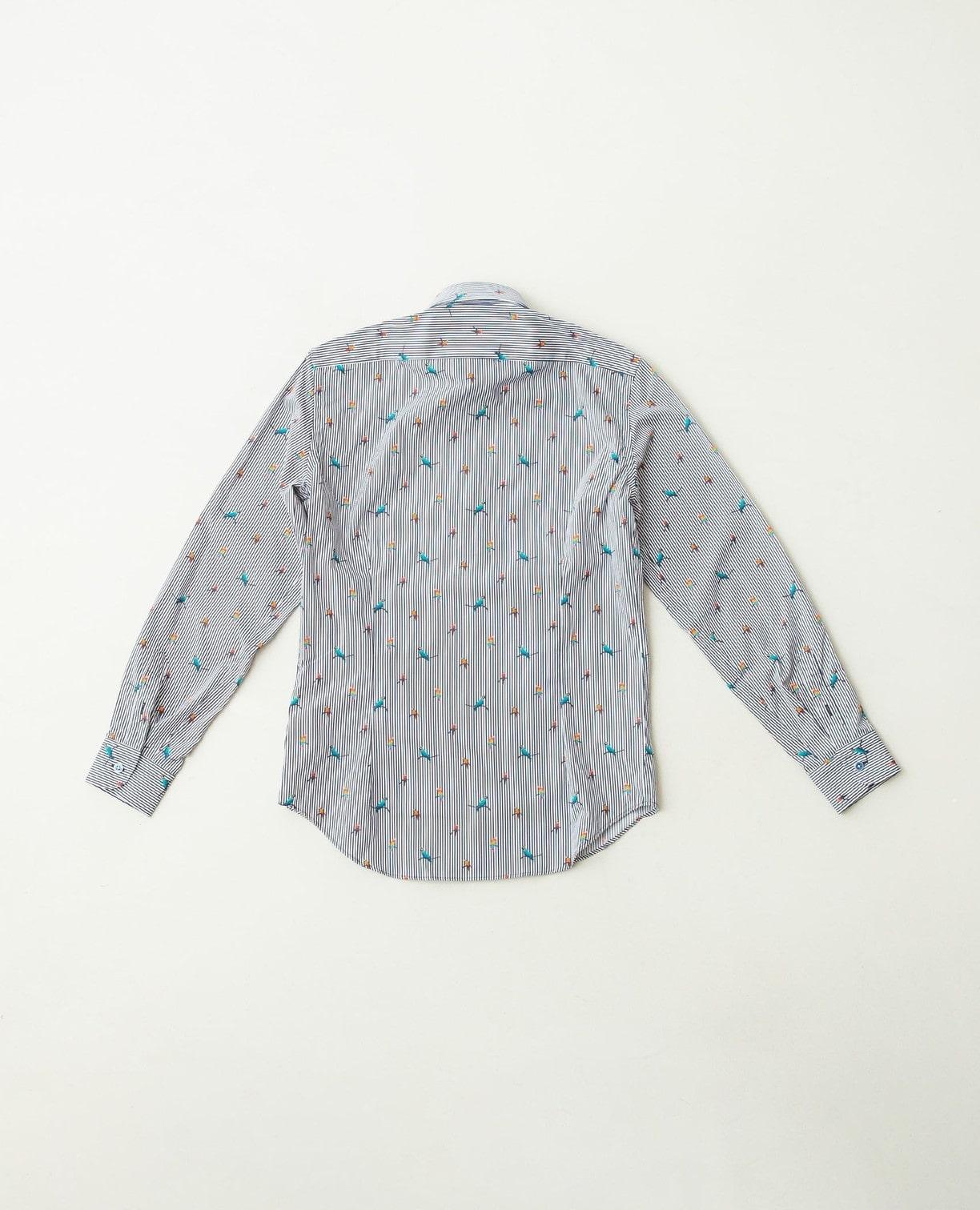 ストライプ鳥柄プリント長袖シャツ