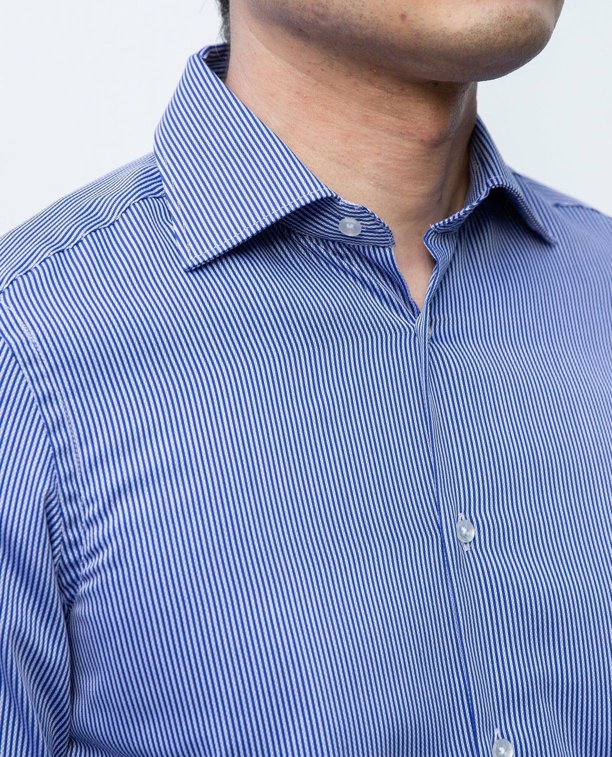 変わりストライプ長袖シャツ