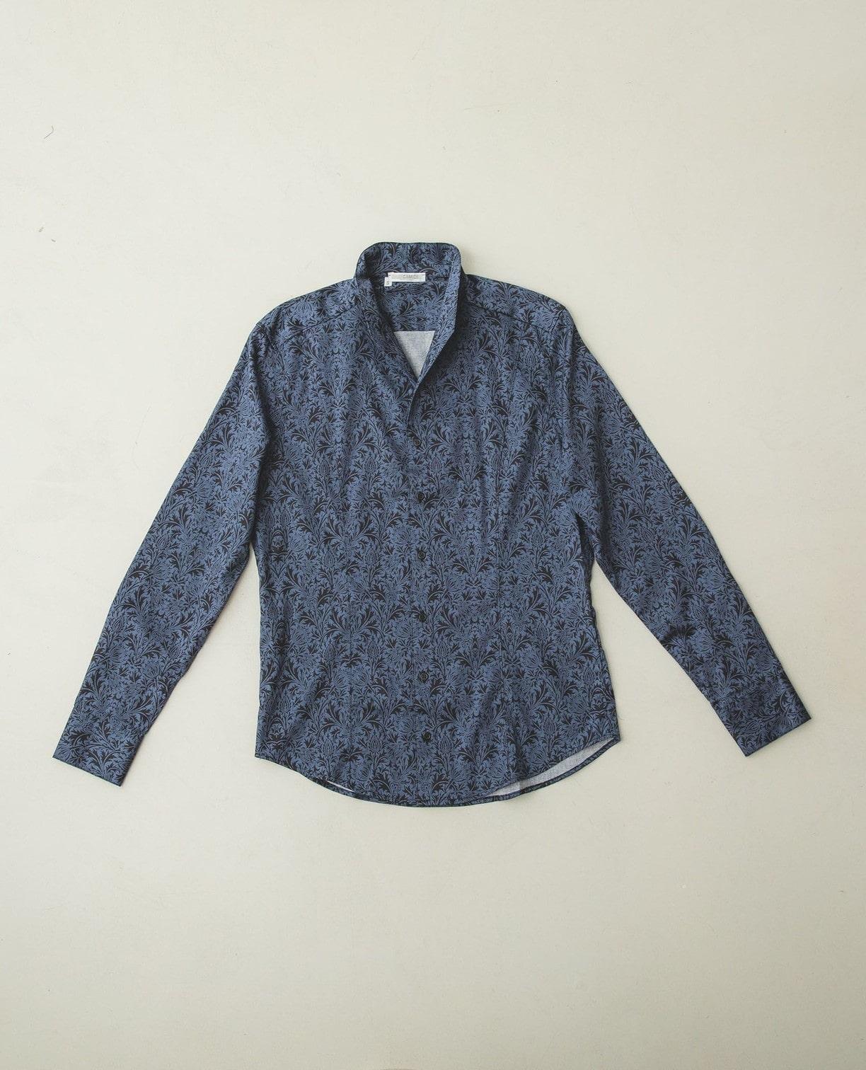 イタリアンカラー長袖プリントシャツ