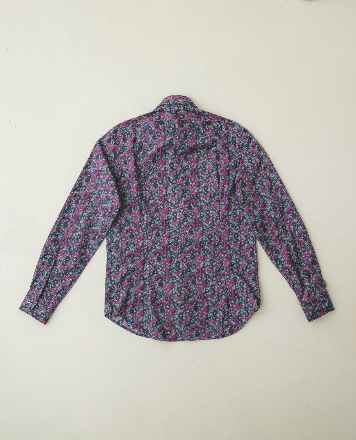 フラワープリントコットン長袖シャツ