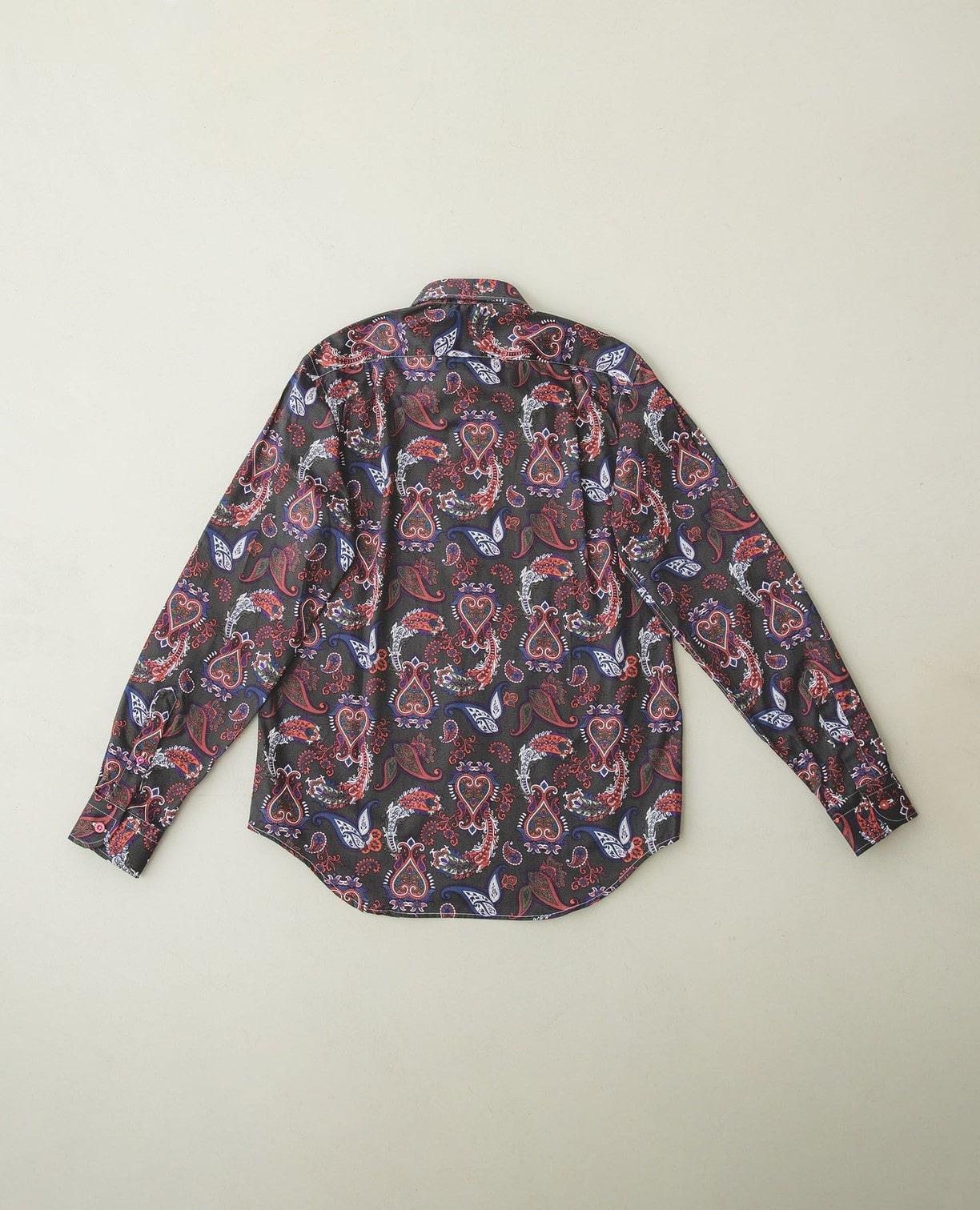 ペイズリープリントボタンダウンシャツ