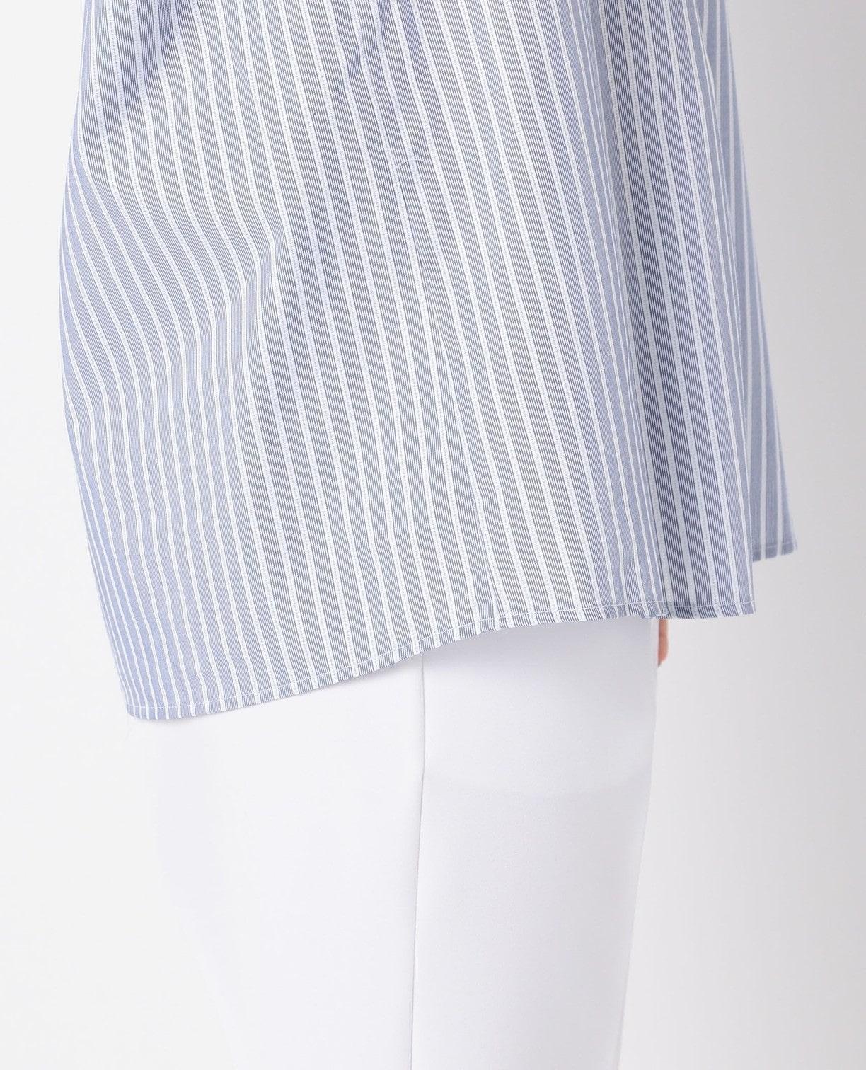 アイレットストライプドロップショルダーギャザースリーブシャツ