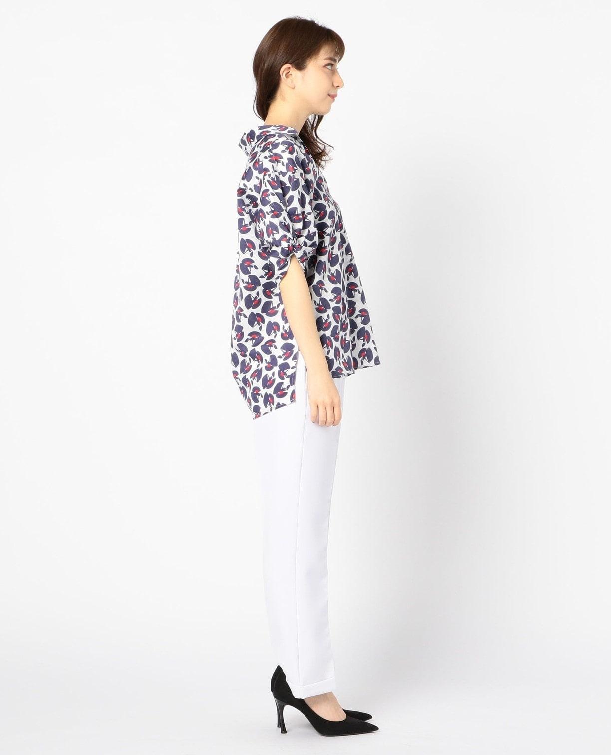 踊り子プリント半袖スキッパーシャツ