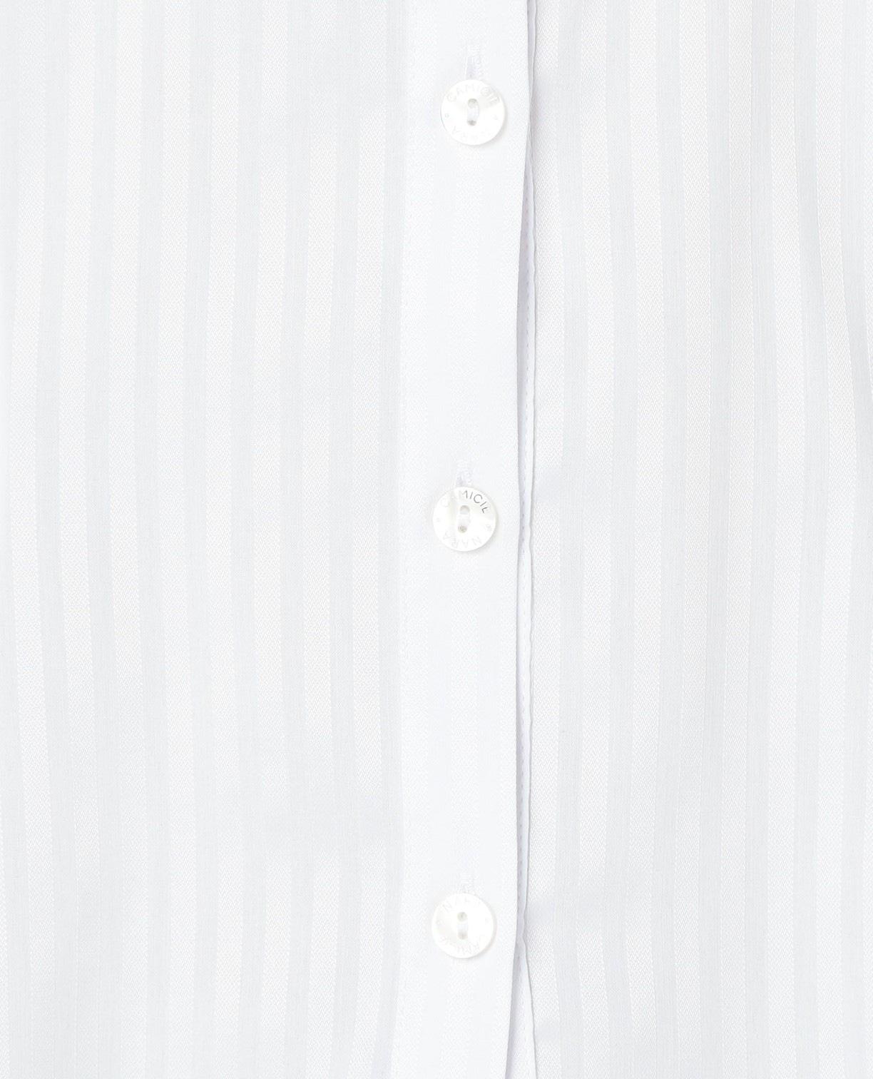 スーパーストレッチサテンストライプ長袖スタンドカラーシャツ