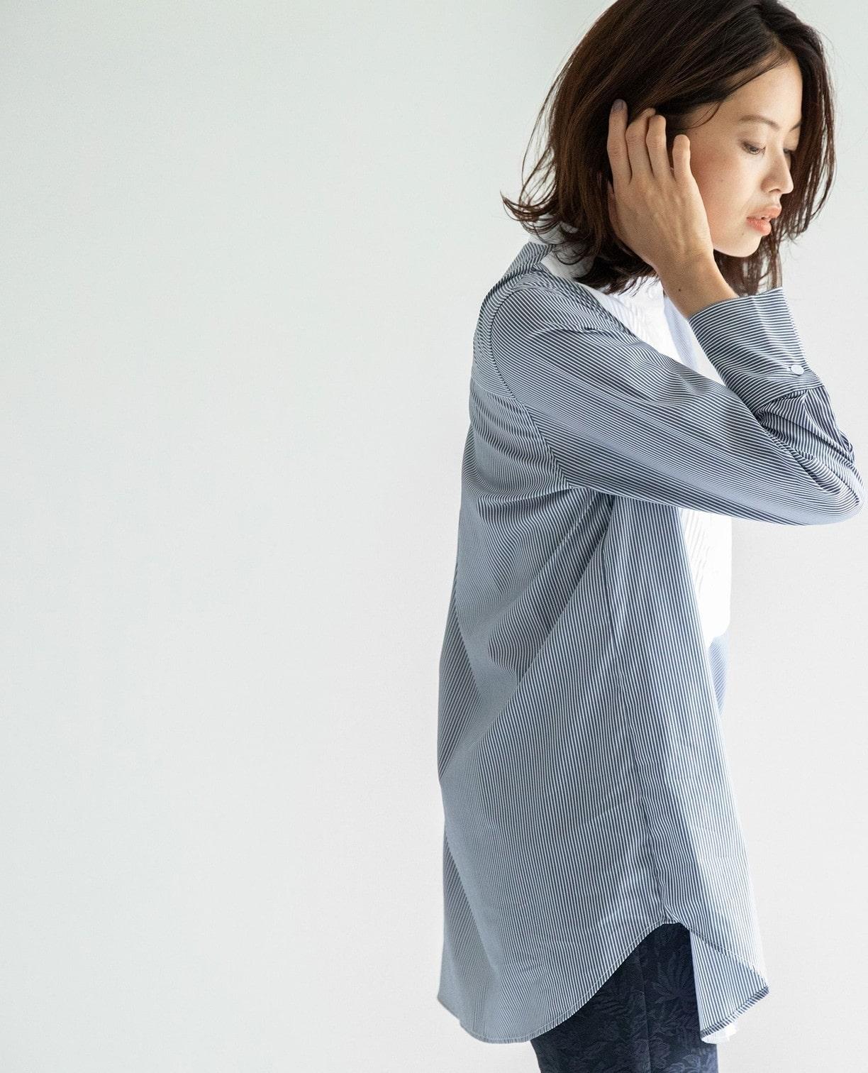 ピエゴリーネバンドカラーストライプシャツ