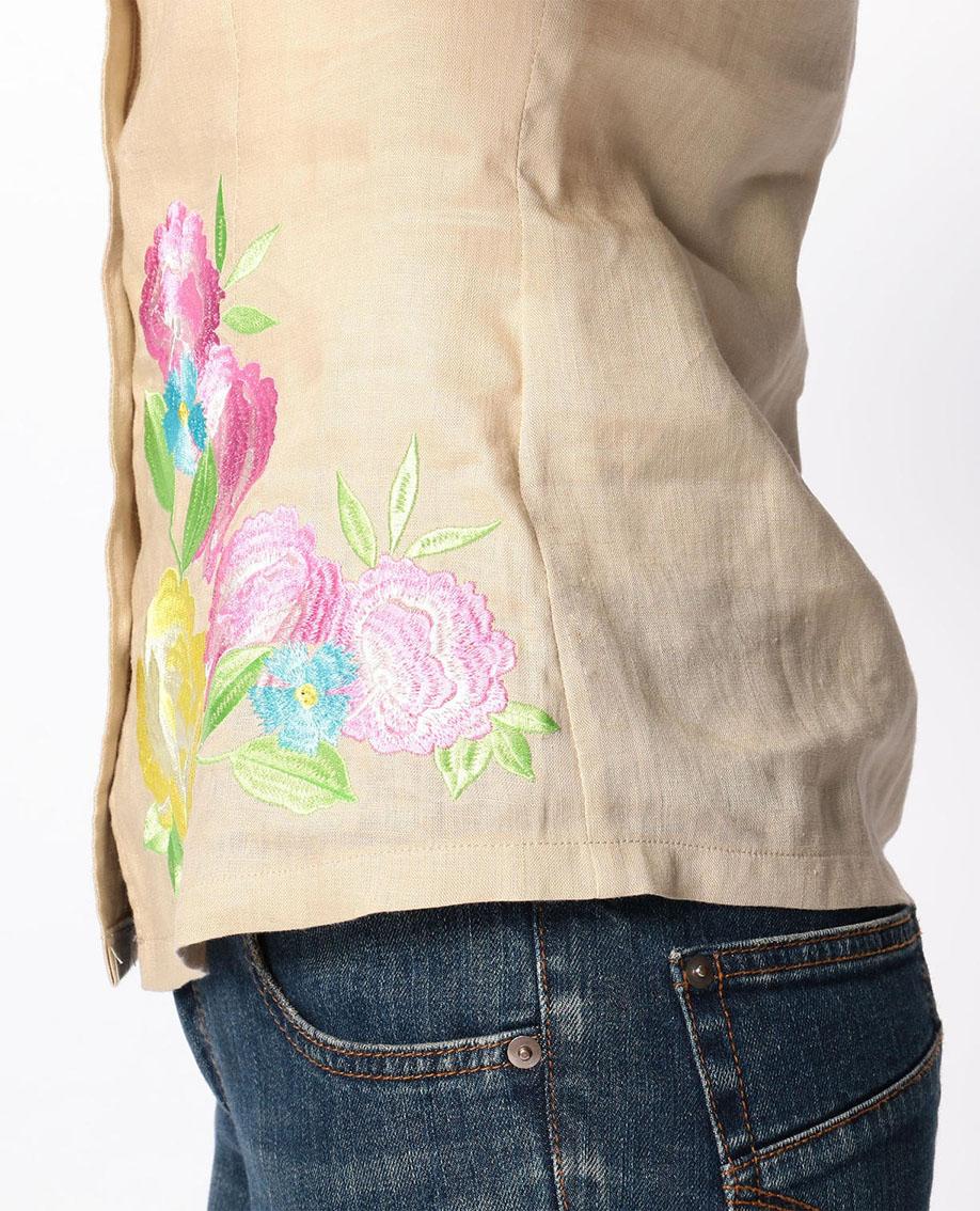 イタリアン麻フラワー刺繍スタンドカラーブラウス