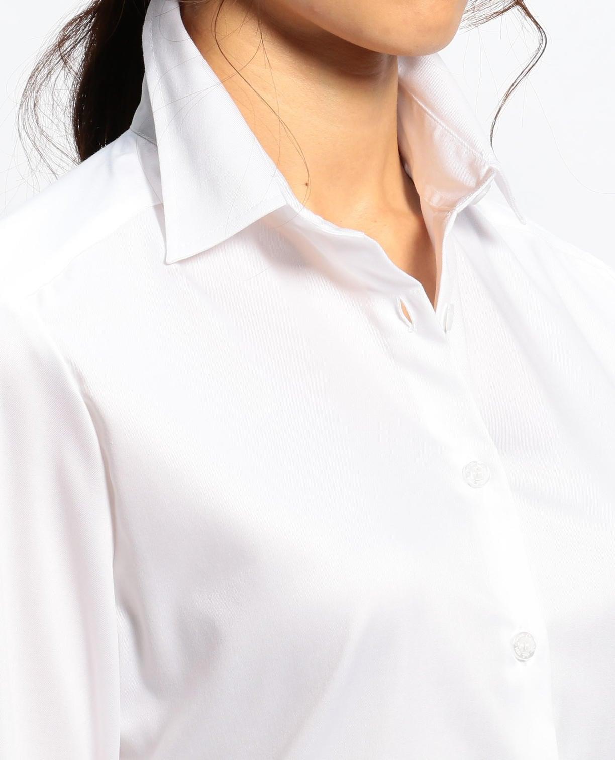 コットンシャンブレーベーシックカラー長袖シャツ