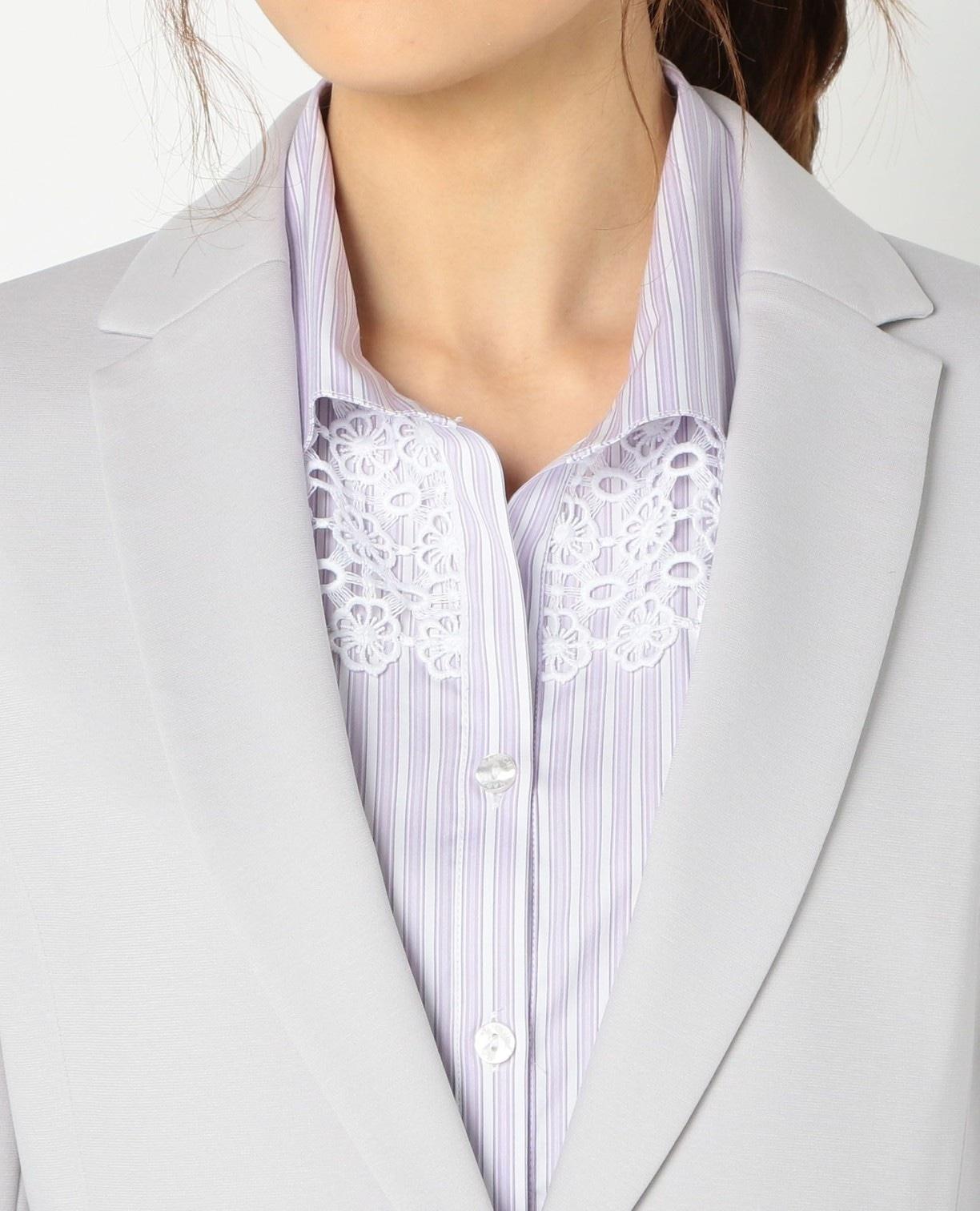 《セットアップスーツ対応》ポンチ長袖テーラードジャケット