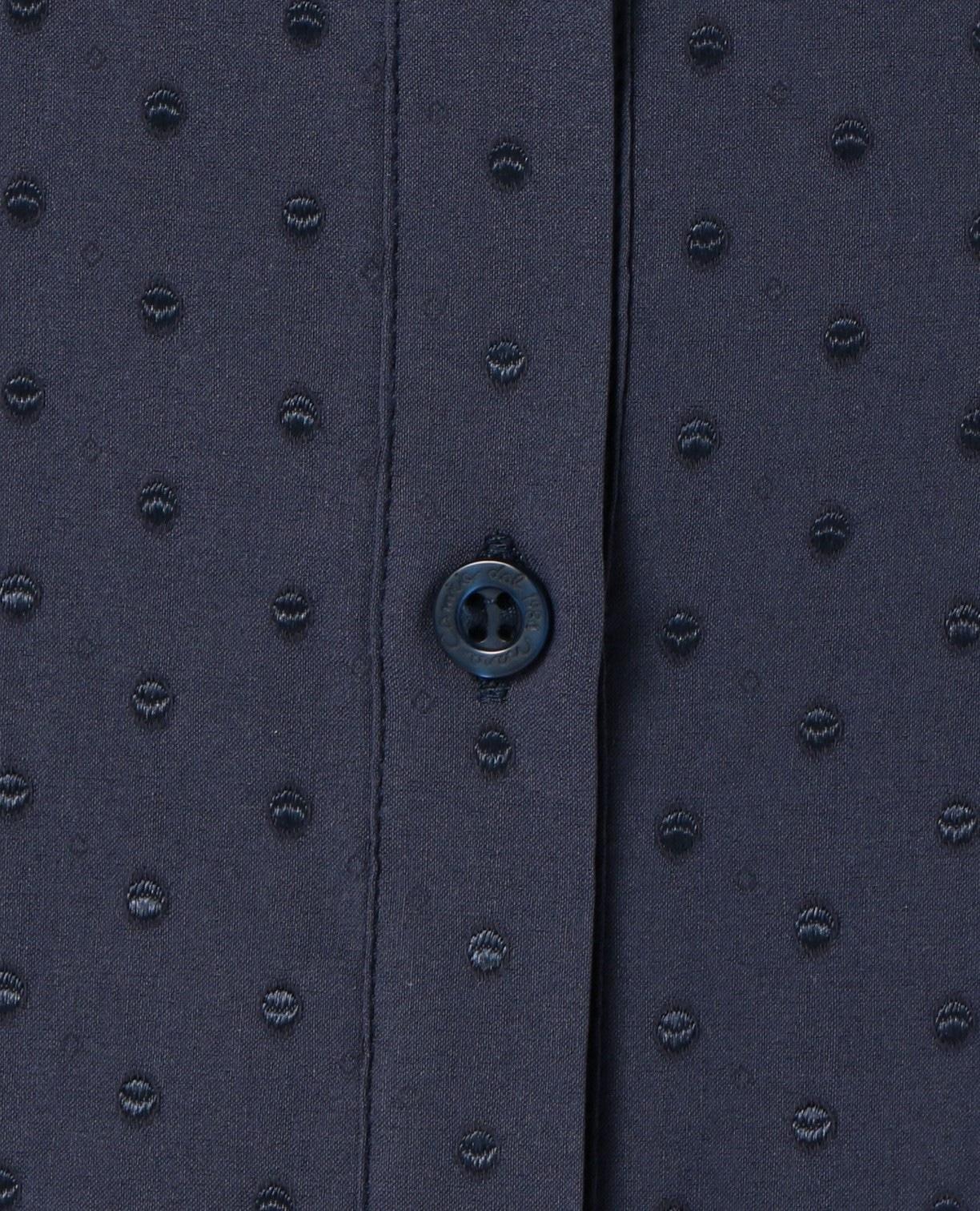 ドットジャカードスーパーストレッチスタンドカラー七分袖シャツ