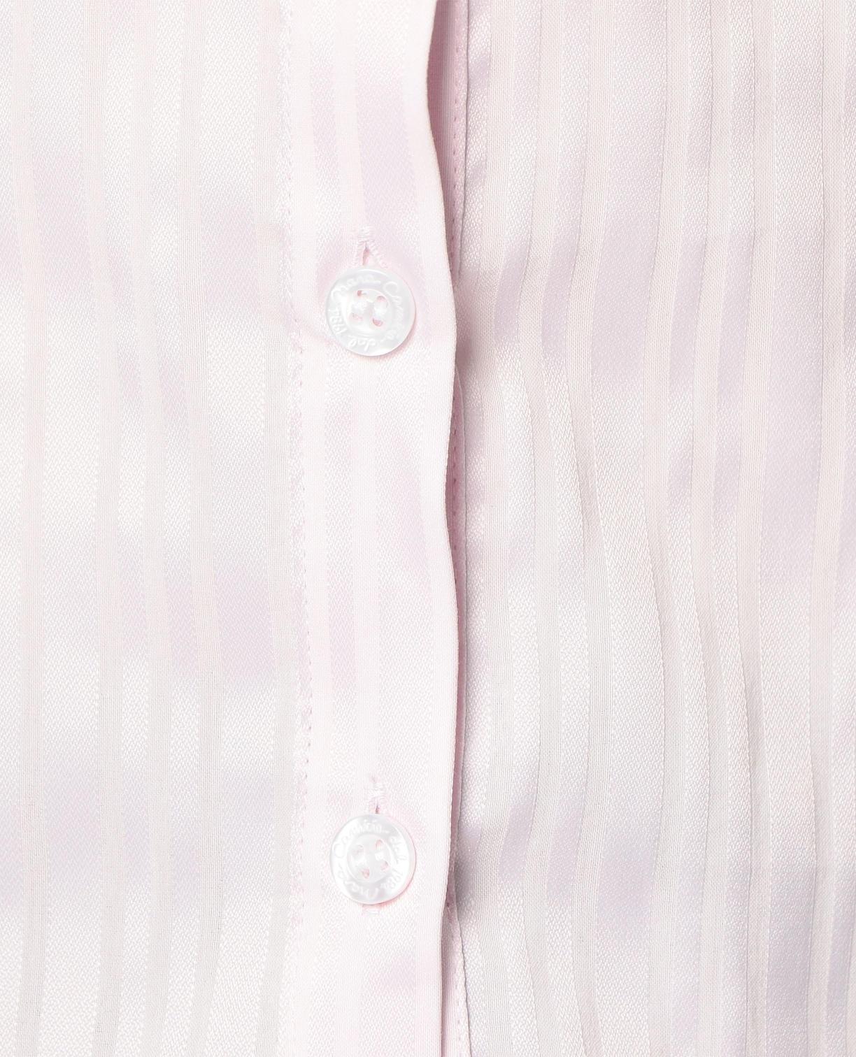 サテンストライプスタンドカラーフリルシャツ