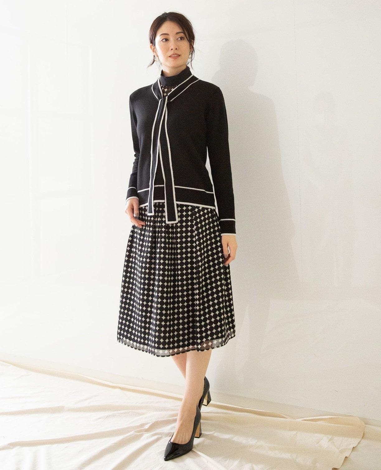 《セットアップ対応》シフォンバイカラードットスカート