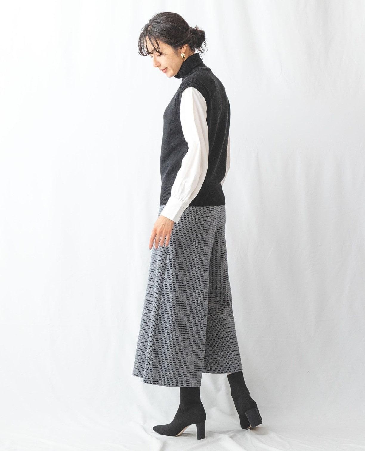 袖布帛ニットプルオーバー