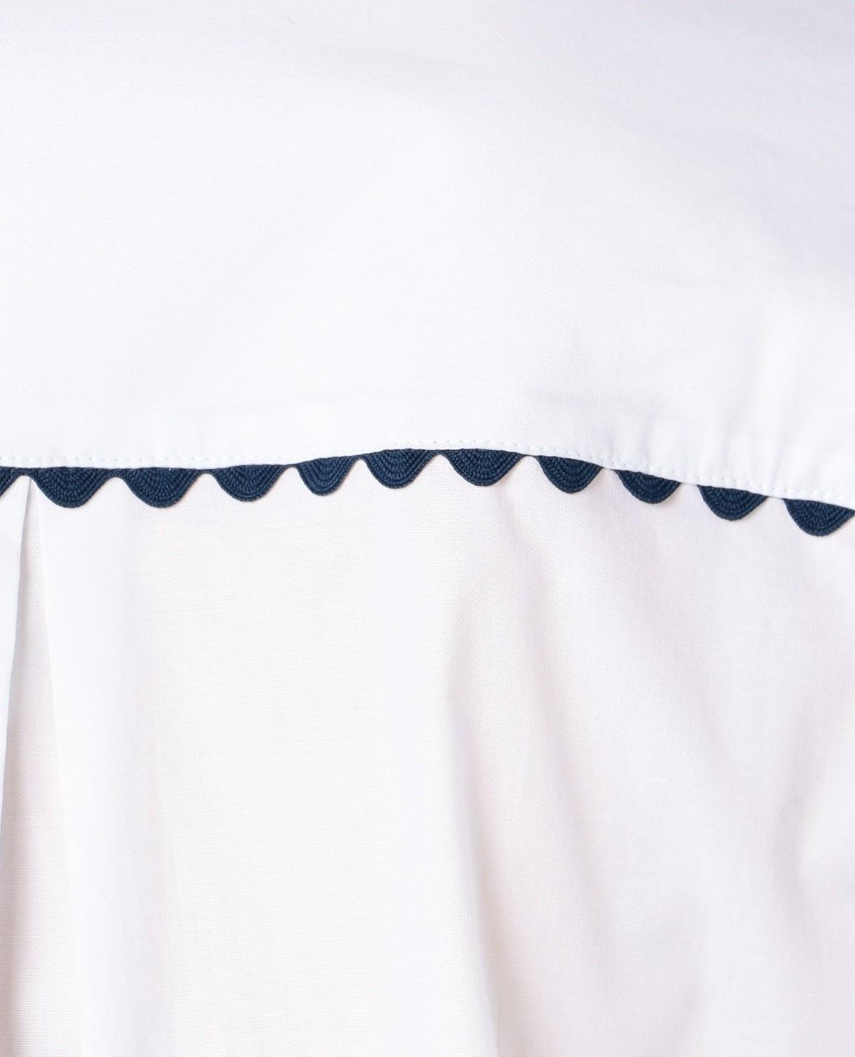 バイカラーレース七分袖シャツ