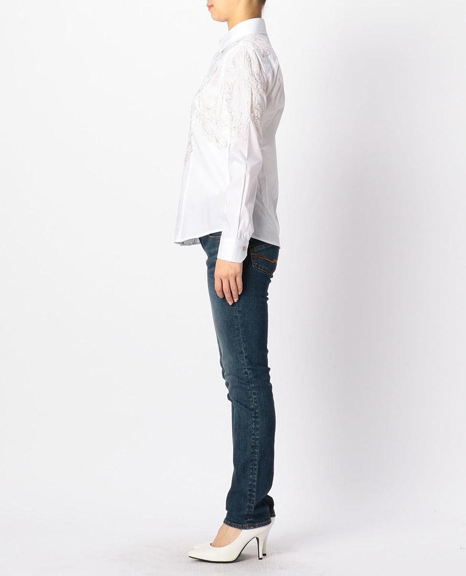 アシメ銀刺繍長袖シャツ